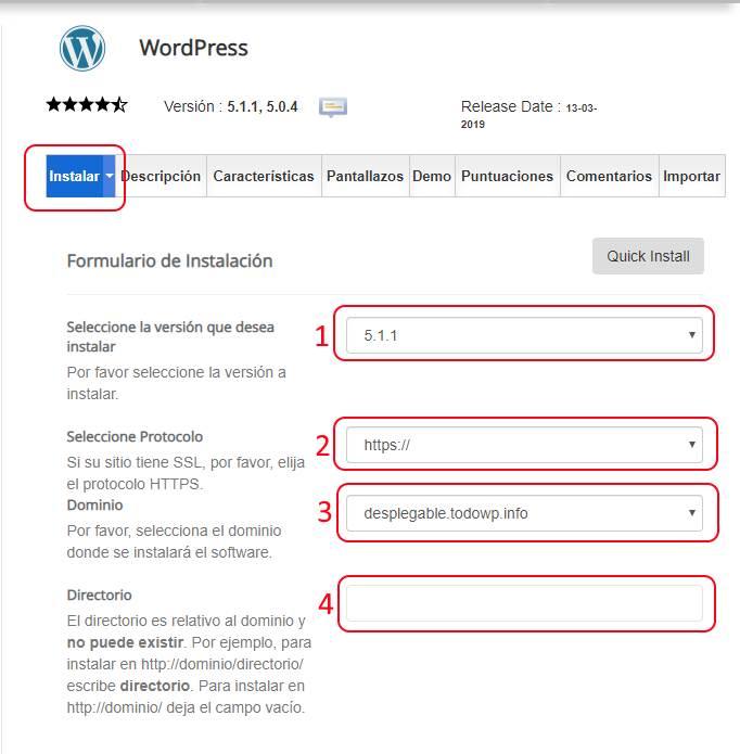 Instalación WordPress versión y dominio