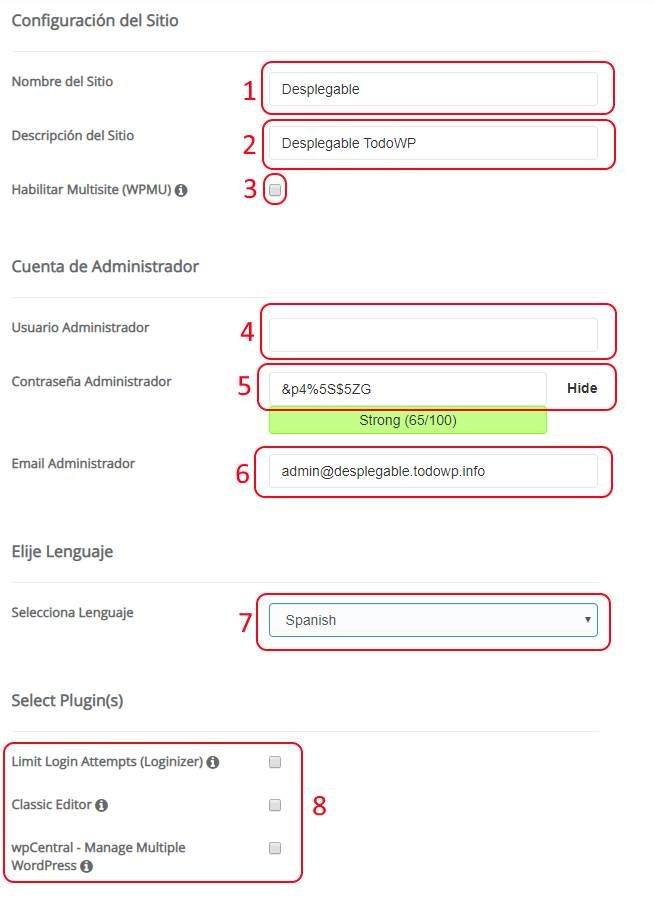 Configuración WordPress