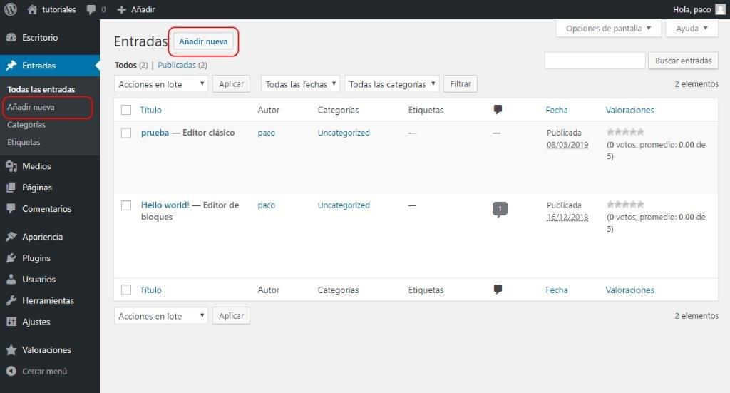 Listado de entradas en WordPress