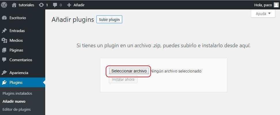 Seleccionar archivo para instalar plugin