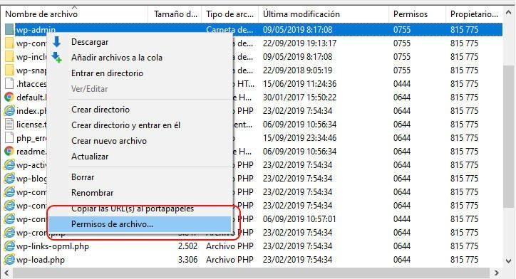 Cambiar los permisos de los ficheros de Wordpress