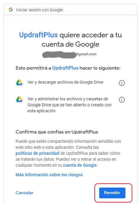 Updraftplus fin permisos Google