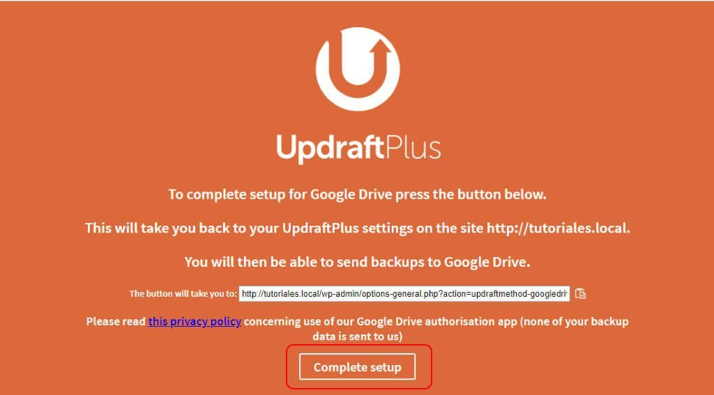 Fin de configuración Updraftplus