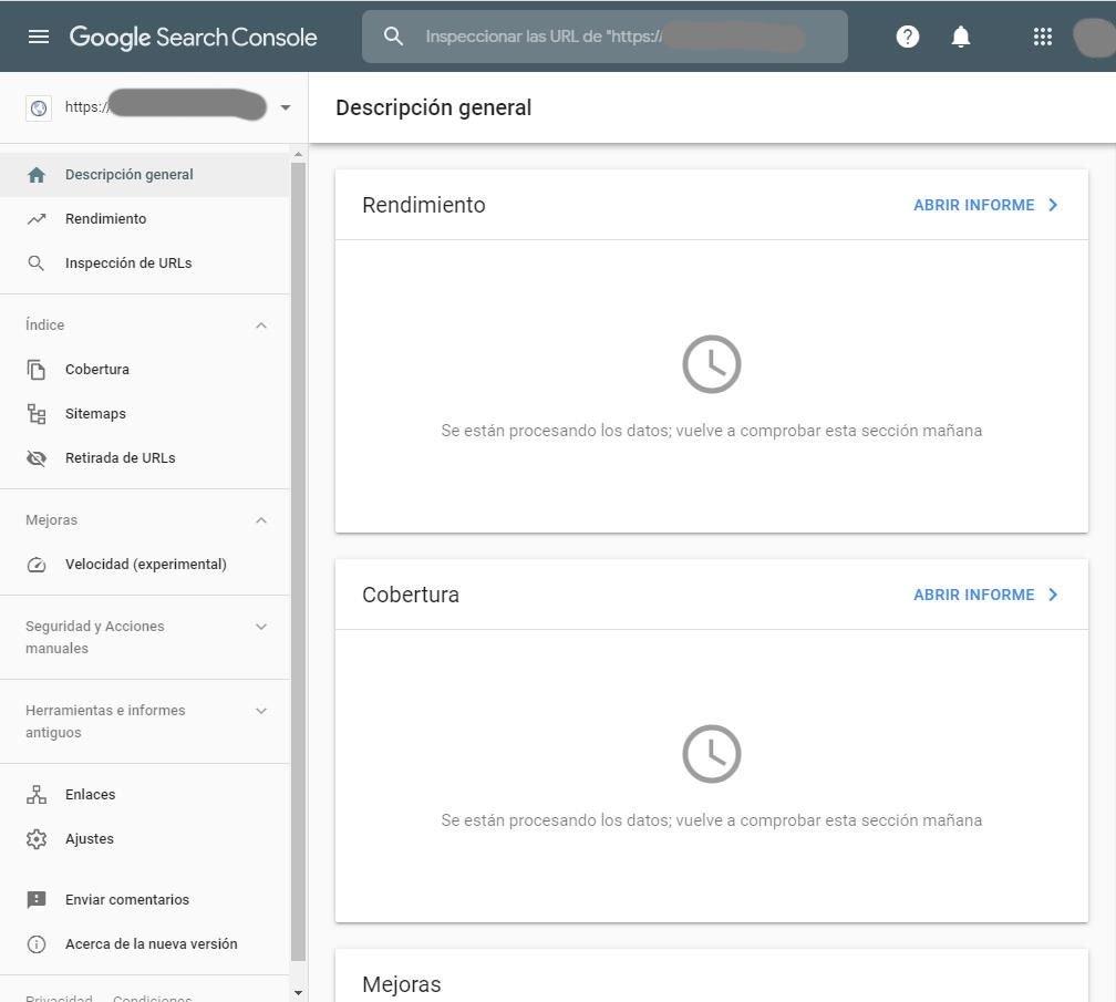 Propiedad añadida a Google Search Console