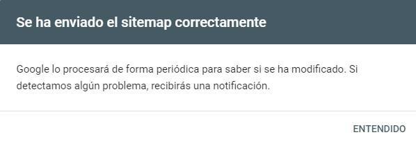 Confirmación Sitemap