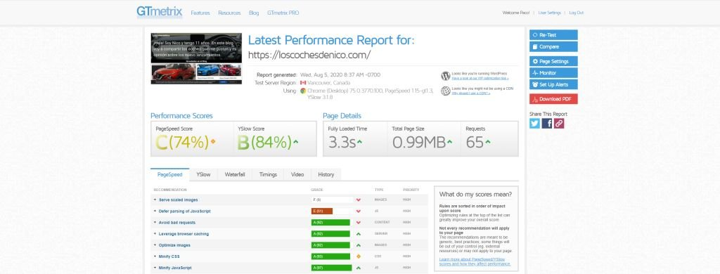 Mide la velocidad de tu web gtmetrix