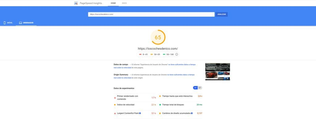 Mide la velocidad de tu web pagespeed