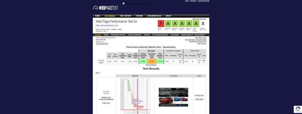 Mide la velocidad de tu web webpagetest